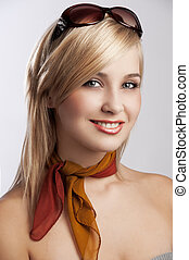 blond smiling girl portrait with sunglasses - blond and...