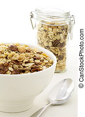 chocolate cornflakes and almonds muesli or granola -...