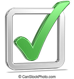 Checked Tickbox v - Shiny Tickbox Checked With A Green Check...
