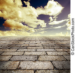Background street - Architectural background with cobbled...