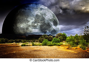 Dreamscape full moon - Dreamscape with full moon and nature...