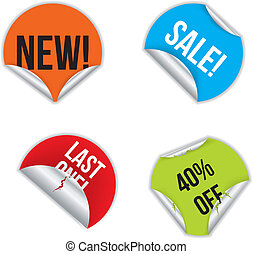 Various stickers with discounts