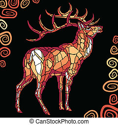 deer - Abstract deer on the rock. Styled stained glass....
