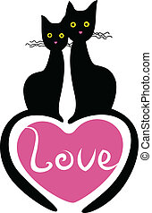 love of two black cats - two black cats with heart