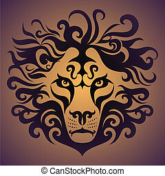 Lion - abstract lion head