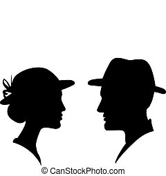 man and woman face profile silhouette, vector male female...