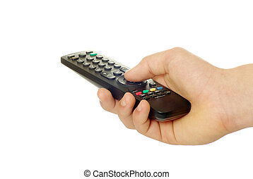 remote control in hand isolated on white background
