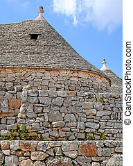 Typical conical trulli houses in Alberobello, Italy