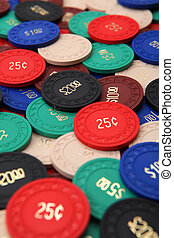 Poker chips - Photo of generic antique poker chips.