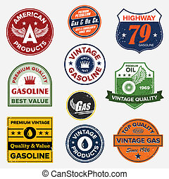 Vintage retro gas signs - Set of vintage retro gasoline...