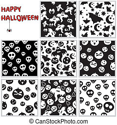 Collection of halloween seamless patterns Vector...