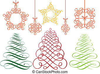 christmas ornaments, vector set - set of flourish christmas...