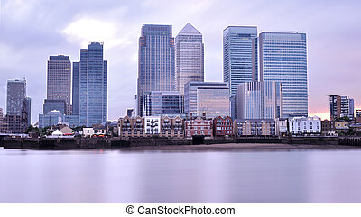 Canary Wharf and the River Thames at sunset