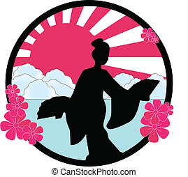 geisha - vector illustration of a geisha