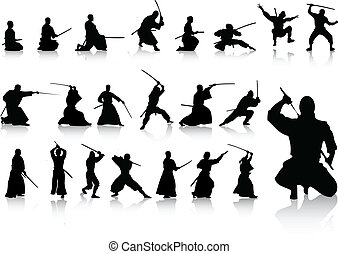 ninjas - vector set of various martial artists