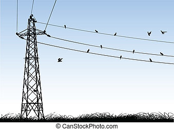 transmission tower - vector illustration of a transmission...