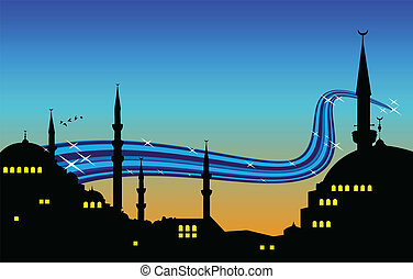 istanbul - vector illustration of the cityscape of istanbul