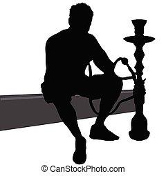 man smoking nargile vector silhouette art illustration