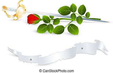 rose and sword - Vintage theme: red rose and sword, banner...