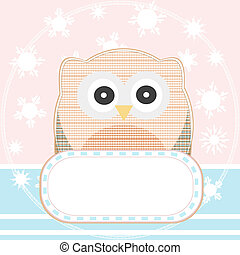 cute owl with a blank empty sign vector background