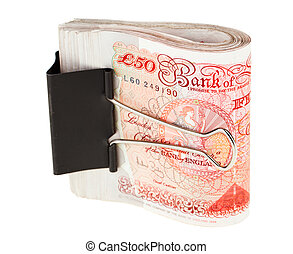 Bundle of 50 pound sterling bank notes fasten with paper...