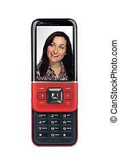 Generic Sliding Cell Phone Showing a Beautiful Smiling Brunette