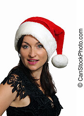 Beautiful Brunette with Santa Hat (4) - Close-up of a lovely...