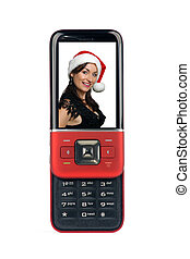 Generic Sliding Cell Phone Showing a Beautiful Brunette with Santa Hat