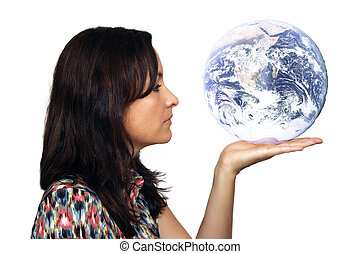 Beautiful Brunette Holding a Stylized Globe - Close-up of a...