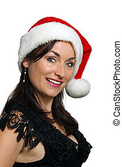 Brunette with Santa Hat (3) - Close-up of a lovely brunette...