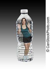 Beautiful Brunette in a Bottle of Water - A lovely brunette...