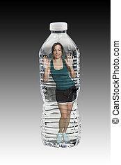 Beautiful Brunette in a Bottle of Water - A lovely brunette...