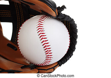 Baseball. - A close-up of a new baseball in a mitt, isolated...