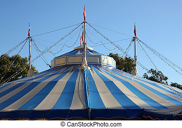 Circus Tent - a roof of a circus tent with lamps