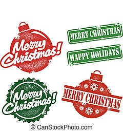 Vintage Merry Christmas Stamps - A selection of several...