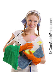 Young housewife - Young Housewife in rubber gloves on a...