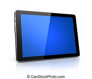 Modern digital tablet with blue screen isolated - own design