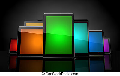 Digital pads with colorful touchscreens on black