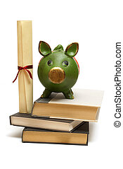Education Finances - An isolated pig bank and diploma scroll...