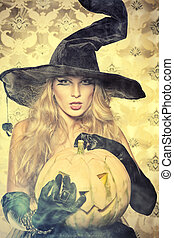 coquette witch - Charming halloween witch over vintage...