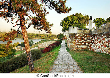 Kalemegdan fortress in Belgrade - old colorful stone wall of...