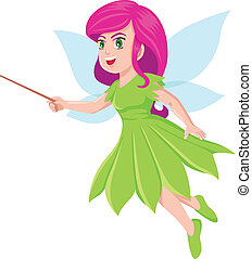 Faerie  - Cartoon illustration of a little faerie