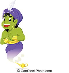 Genie - Vector illustration of a genie came out from magic...