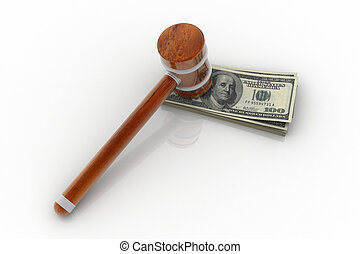 hammer and dollar - 3d rendering of hammer and dollar