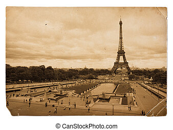 vintage sepia toned postcard of Eiffel tower in Paris