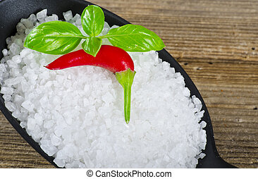 Kalahari salt roughly with chilli and basil