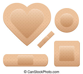 Bandage set - An adhesive bandage set including one in the...