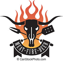 Barbecue Logo - Barbecue logo features a cow skull and...