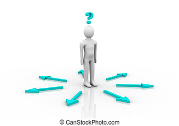 3d person and question mark