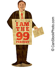 Occupy Wall Street - illustration of American male worker...